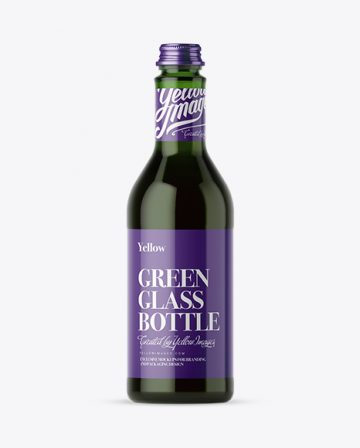 500ml Green Glass Bottle With Red Drink Mockup