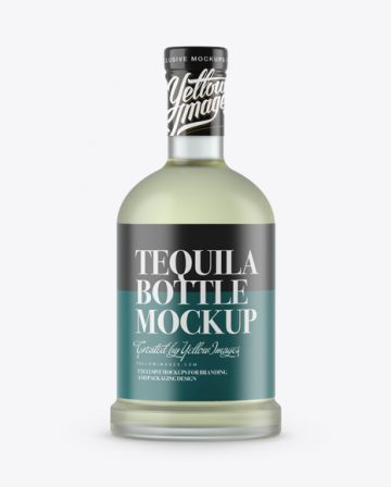 Frosted Bottle With Joven Tequila Mockup