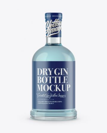 Clear Glass Dry Gin Bottle Mockup