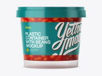 Glossy Plastic Container With Beans Mockup - Eye-Level Shot