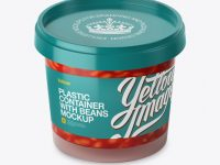 Glossy Plastic Container With Beans Mockup - High-Angle Shot