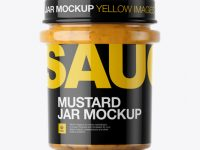 Mustard Glass Jar Mockup - Eye-Level Shot