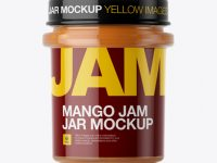 Glass Jar With Mango Jam Mockup - Eye-Level Shot