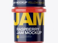 Glass Jar With Raspberry Jam Mockup - Eye-Level Shot