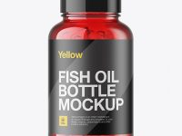 Red Fish Oil Bottle Mockup - Front View