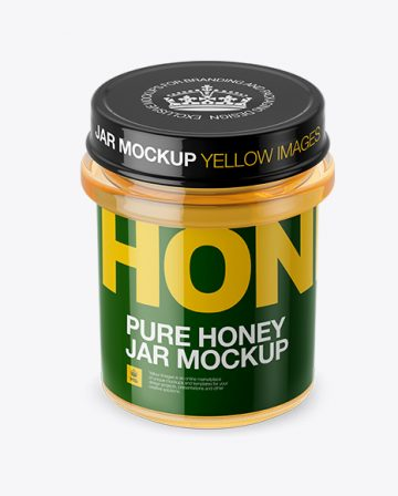 Pure Honey Jar Mockup (High-Angle Shot)