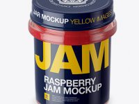 Glass Jar With Raspberry Jam Mockup (High-Angle Shot)