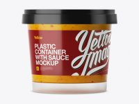 Glossy Plastic Container With Sauce Mockup - Eye-Level Shot