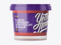 Glossy Plastic Container With Strawberry Yogurt Mockup - Eye-Level Shot