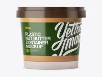 Frosted Plastic Container With Nut Butter Mockup - Eye-Level Shot