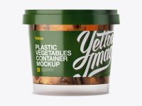 Glossy Plastic Container With Vegetables Mockup - Eye-Level Shot