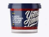 Glossy Plastic Container With Raspberry Jam Mockup - Eye-Level Shot
