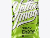 Metallic Snack Package Mockup - Front View