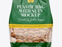 Clear Bag With Almonds Mockup - Front View