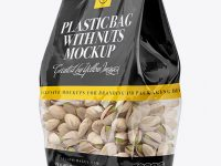 Clear Bag With Pistachio Nuts Mockup - Halfside View
