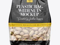 Clear Bag With Pistachio Nuts Mockup - Front View