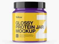 Glossy Protein Jar Mockup - Front View