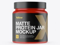 Matte Protein Jar Mockup - Front View