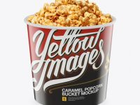 Large Glossy Caramel Popcorn Bucket Mockup - High-Angle Shot