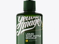 Green Liquid Soap Bottle with Pump Mockup - Front View