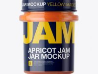 Glass Apricot Jam Jar Mockup - Front View