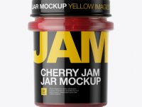Glass Cherry Jam Jar Mockup - Front View