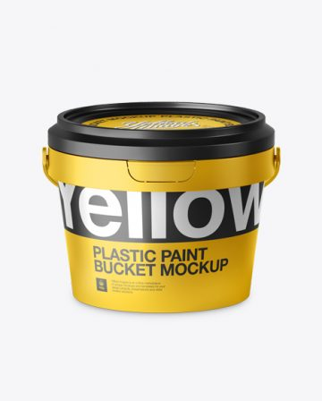 Metallic Paint Bucket Mockup - Front view (High-Angle Shot)