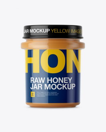 Glass Raw Honey Jar Mockup - Front View