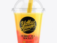 Orange Bubble Tea Cup Mockup - Front View