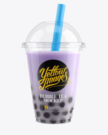 Blueberry Bubble Tea Cup Mockup - Front View