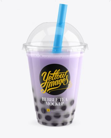 Blueberry Bubble Tea Cup Mockup - High-Angle View