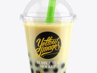 Banana Bubble Tea Cup Mockup - High-Angle View