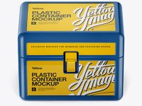 Plastic Container w/ Lock Mockup - Front View (High-Angle Shot)
