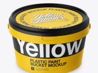 Plastic Paint Bucket Mockup - Halfside view (High-Angle Shot)