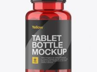 Red Pill Bottle Mockup - Front View
