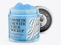 Open Cosmetic Jar with Scrub Mockup - Halfside