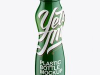 Glossy Plastic Bottle Mockup - Front View (High-Angle Shot)