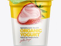 907g Yogurt Cup with Foil Lid Mockup