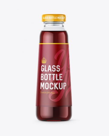 300ml Clear Glass Bottle with Dark Red Drink Mockup