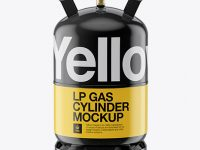 Glossy LP Gas Cylinder Mockup - Front View