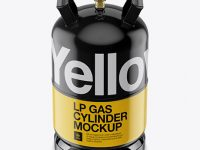 Glossy LP Gas Cylinder Mockup - Front View (High-Angle Shot)
