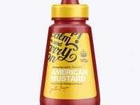 250g Mustard Bottle w/ Spout Cap Mockup