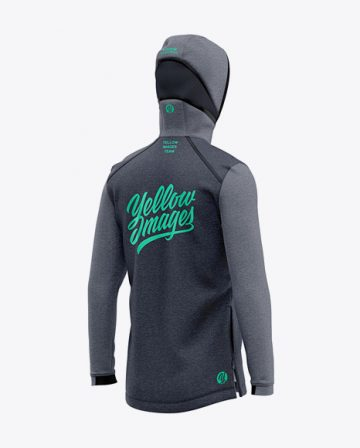 Basketball Heather Hoodie Mockup - Back Half Side View