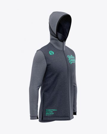 Basketball Heather Hoodie Mockup - Front Half Side View