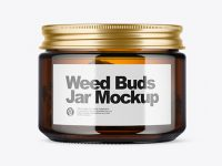 Amber Glass Jar with Weed Buds Mockup