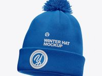Winter Hat Mockup - Half Side View