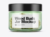 Green Glass Jar with Weed Buds Mockup