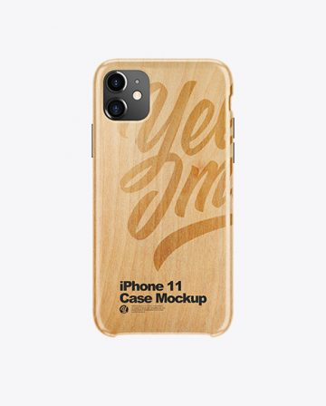 iPhone 11 White Wooden Case Mockup