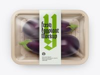 Plastic Tray With Eggplant Mockup