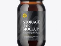 Amber Glass Storage Jar Mockup